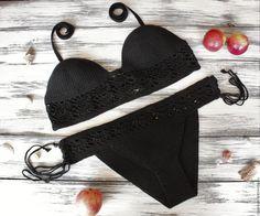 Купить Черный вязаный купальник - однотонный, вязаный, крючком, кружевной, черный, хлопок, ажурный, купальник