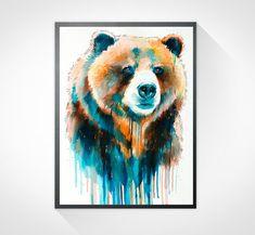Grizzly bear watercolor painting print  animal par SlaviART sur Etsy