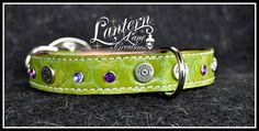 Custom Dog collar/lime green reptile/colt .45 conchos/purple and tanzanite crystals/double rings for clipping leash