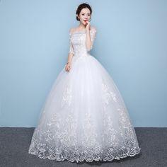 To je YiiYa Off White Boat Neck Half Sleeve módní svatební šaty Hiqh  kvalita Podlahová délka 3d1a9d832a