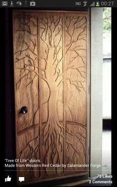 Tree of life wooden door