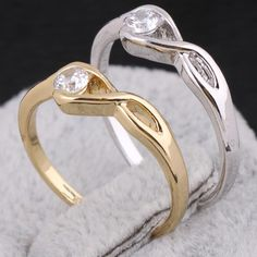 Full Sizes Eight Shape Design Copper Finger Ring Inlay White Clear Zircon Two Colors