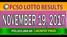 PCSO Lotto Results November 19, 2017 (6/58, 6/49, SWERTRES & EZ2 LOTTO) Lotto Results, Youtube, December 17, Youtubers, Youtube Movies