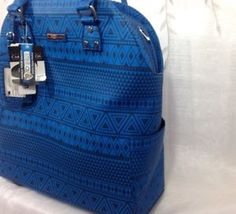 Cabrelli Co Rolling Tote Carry on Wheeled Laptop Briefcase Blue Geo MSRP 199 Rolling Briefcase, Laptop Briefcase, Hermes Birkin, Geo, Carry On, Blue, Tops, Fashion, Moda