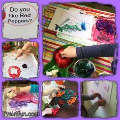 letter v art vegetable stamping
