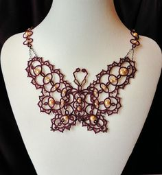 Butterfly necklace in beaded tatting