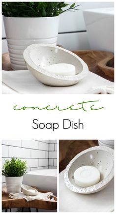 Love this DIY concrete soap dish! Such a quick and easy project for the bathroom… Love this DIY concrete soap dish! A quick and easy project for the bathroom. The perfect modern accessory! Concrete Crafts, Concrete Art, Concrete Projects, Concrete Design, Concrete Bowl, Concrete Planters, Beton Design, Beton Diy, Easy Projects