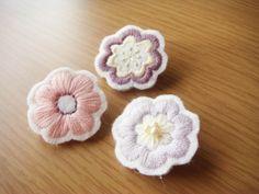 刺繍ブローチ お花3点セット(紫)