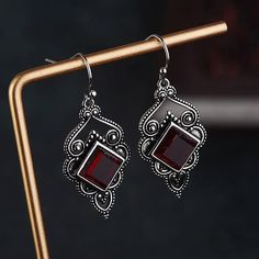 Purchase Vintage Women Faux Ruby Inlaid Geometric Dangle Drop Hook Earrings Jewelry Gift from Bluelans on OpenSky. Share and compare all Jewelry. Garnet Earrings, Silver Drop Earrings, Unique Earrings, Gemstone Earrings, Women's Earrings, Silver Jewelry, 925 Silver, Ruby Gemstone, Sterling Silver
