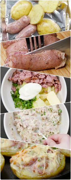 Batata Assada com Linguiça Toscana | A melhor combinação que existe, a melhor batata que você vai comer na vida! #batataassada #batatacomlinguiça #linguiçatoscana