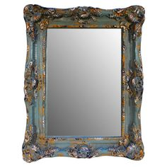 Ornate embellishments give this wall mirror an elegant feel that's tempered by its distressed blue finish. Hang it in the entryway or powder room for a dash ...