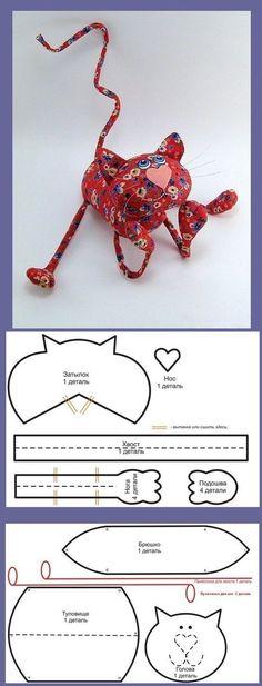 Funny cat toy pattern / Выкройка игрушечного кота