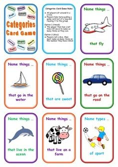 FREE Categories Card Game: Name Things That ... Repinned by SOS Inc. Resources pinterest.com/sostherapy/.