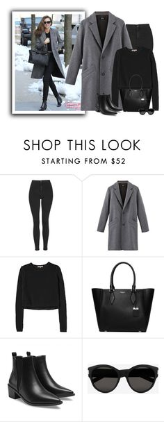 """Celebrity street style"" by lenaick ❤ liked on Polyvore featuring Kerr®, Topshop, Rebecca Taylor, Michael Kors and Yves Saint Laurent"