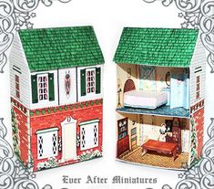 VINTAGE Dollhouse Miniature Kit #1 – Scaled to 1:72, this DIY craft printable miniature doll house is a mini house for doll playset that can fit inside a 12th scale dollhouse. Now your 12th scale dollhouse can have a tiny dollhouse inside: A doll house within a dollhouse!  The 3D miniature doll Dollhouse Kits, Vintage Dollhouse, Dollhouse Miniatures, Old Fashioned House, Matchbox Crafts, Paper Furniture, Toy House, Barbie Toys, Thing 1