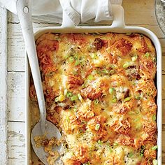 Cheesy Sausage-and-Croissant Casserole | This casserole is rich, delicious, and worthy of Christmas breakfast. Gruyère cheese browns beautifully and adds a nutty flavor to the dish. You can sub Swiss cheese if you prefer.