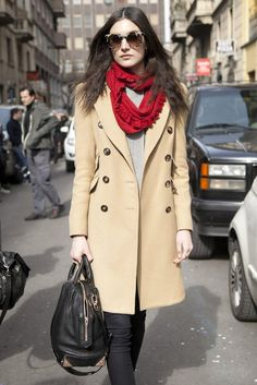 Note to self: invest in a camel trench  Milan Fashion Week Street Style 2012