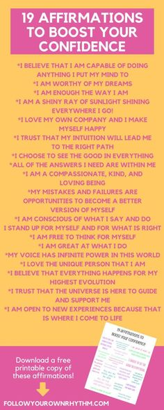 Confidence affirmations are a great way to boost your self-esteem and get you into the mind space of feeling good about yourself and where you are in life. Download these affirmations in a free printable format and hang it on your wall or mirror! Click the link to download! --personal growth, self care, self love, confidence, self esteem, motivation, affirmations, manifesting, law of attraction, self-love, self-care, healthy mind and spirit