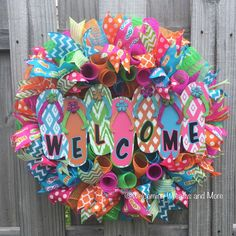 A personal favorite from my Etsy shop https://www.etsy.com/listing/290963743/flip-flop-wreath-welcome-flip-flop