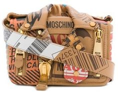 Moschino Women's Brown Leather Shoulder Bag.