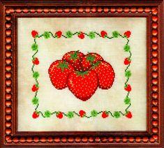 M - M - M Strawberries Cross Stitch Pattern