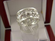 STERLING SILVER TURTLE 11 MM WIDE BAND RING  SZ 8.5. #4 #Band
