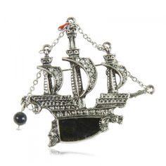Broche en forme de bateau pirate orné de zirconias (1V018), Autre