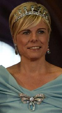 Princess Laurentien of the Netherlands with part of the aquamarine parure.