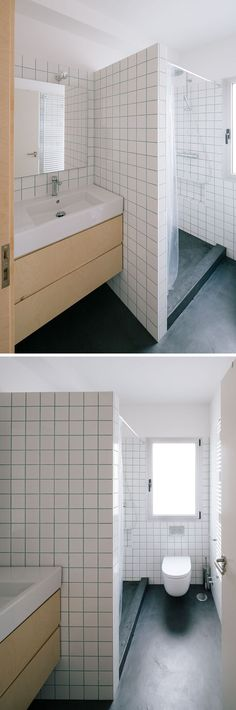 Minimalist Bath. Bluish-Green Colored Grout Breaks Up The White Tile Used Throughout This Bathroom