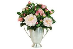 {January-March} CAMELLIA: in collectable silver vase