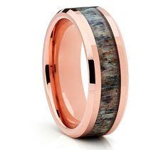 Deer Antler Tungsten Wedding Band,Rose Gold Tungsten Ring,Engagement…