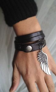 Sliced Black Leather Double Wrap Cuff Bracelet With by pier7craft, $12.50