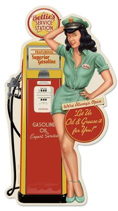 Bettie Page Bettie's Service Station Pinup Girl plasma cut metal sign, vintage style, retro gas oil, garage art wall decor rgg082 by HomeDecorGarageArt on Etsy