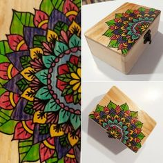Hand painted wooden pack with mixed technique using watercolor pencils and UniPosca markers. Protected by a layer of resin fixative. Funky Home Decor, Handmade Home Decor, Bottle Painting, Bottle Art, Painted Wooden Boxes, Hand Painted, Painted Wine Bottles, Decorated Bottles, Wooden Crafts
