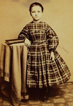 Antique Civil War Era CDV Photo of Pretty NYC Girl in Plaid Hoop Dress Tax Stamp | eBay