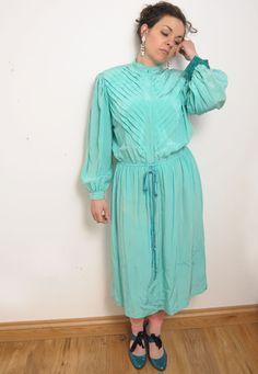 WOW CHIC Vintage 70's 40's WW2 JOHN MARKSNMint Pastel pleats front rope dress