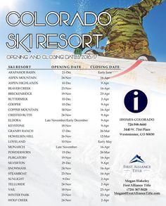 2016 Colorado Ski Resort Opening Dates
