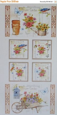 """BLACK FRIDAY SALE Adalees Garden~Panel 24"""" x 44""""~Floral Cotton Fabric, Quilt,~Red Rooster~Fast Shipping F597"""