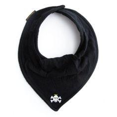 Babero bandana negro con calavera.