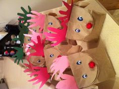 Reindeer gift wrapping! My girls and I had tons of fun making these. We stuffed them with home made sugar cookies. The teachers loved it!