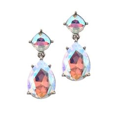 Bridal, Prom or Bridesmaids Iridescent AB Crystal Drop Earrings