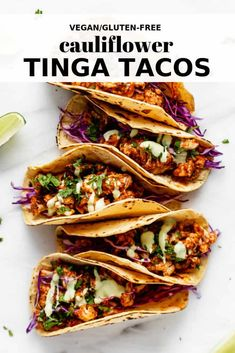 These cauliflower tinga tacos are loaded with spicy cauliflower for a delicious and healthy vegan taco recipe! #veganrecipe #tacorecipe #cauliflower