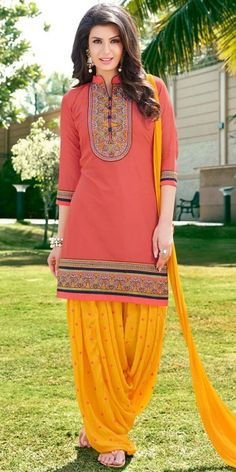 Fashionable Peach And Yellow Cotton Patiala Suit.