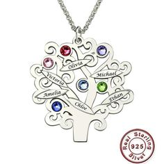 Wholesale Sterling Silver Family Tree Necklace Mother's Necklace with Birthstone Grandmas Gift Family Tree Name Necklace Engraved Necklace, Name Necklace, Silver Pendant Necklace, Silver Necklaces, Sterling Silver Pendants, Silver Jewelry, Silver Earrings, Silver Ring, Mom Jewelry
