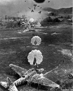 View from an American A-20 Havoc aircraft during a bomber run against a Japanese airfield 1943-1945. Note Ki-21 aircraft about to be destroyed.