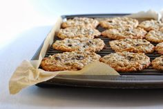 thin, chewy oatmeal cookies with rice krispie cereal, marshmallows, and chocolate chips