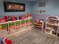 Great playroom idea for basement!! Very organized!
