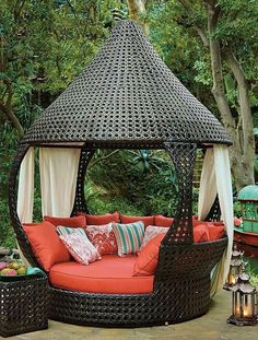 The wooden pergola is a good solution to add beauty to your garden. If you are not ready to spend thousands of dollars for building a cozy pergola then you may devise new strategies of trying out something different so that you can re Outdoor Seating, Outdoor Rooms, Outdoor Living, Outdoor Decor, Outdoor Daybed, Outdoor Furniture, Unique Furniture, Rustic Furniture, Contemporary Furniture