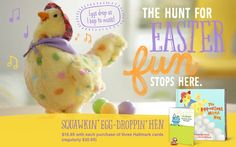 Stop in Johnston's Hallmark to pick up our egg laying chicken...Adorable for young and old!