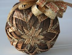 Brown, Copper and Gold Quilted Christmas Ornament Ball - Latte Luster